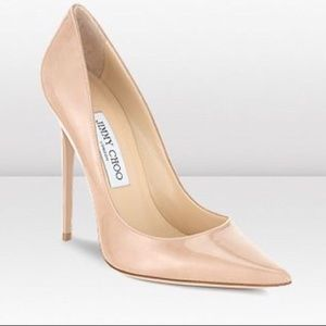 Jimmy Choo Anouk patent leather pump in nude
